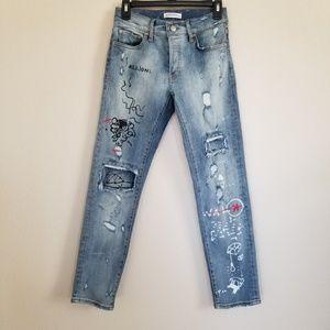 Zara Graphic Skinny Jeans Size 2